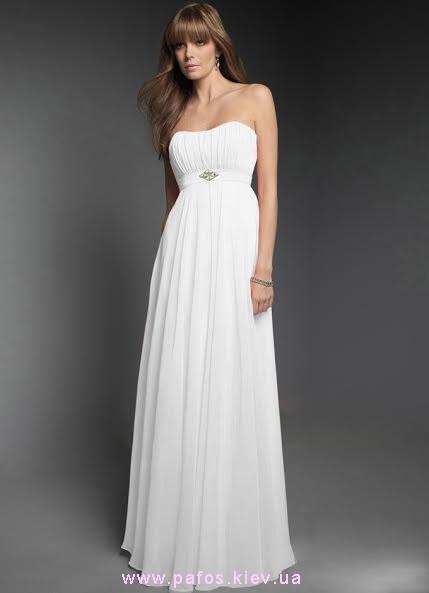 Белое платье в греческом стиле с открытыми плечами Коллекция 2015