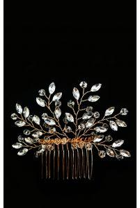 Гребень с кристаллами золотой фото