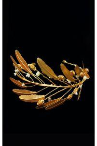 Ободок золотой с перьями фото