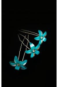 Шпилька цветок голубой фото