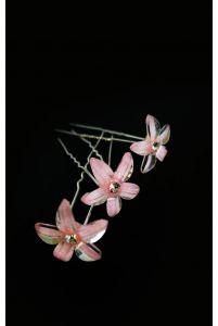 Шпилька цветок розовый фото