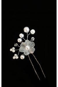Шпилька цветок с жемчугом белый фото
