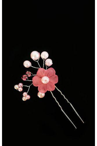 Шпилька цветок с жемчугом розовый в Киеве - Фото 1