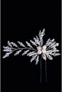 Шпилька с жемчугом и кристаллами фото