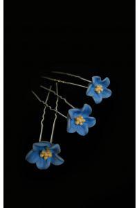 Шпилька в виде цветочка голубой фото