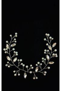 Веточка в волосы серебряная с камушками фото