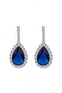 Серьги с синим камнем в серебре фото