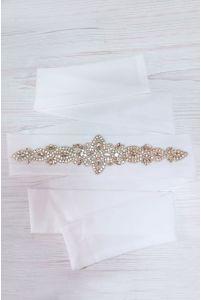 Свадебный пояс с камнями и бисером фото
