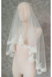 Свадебная фата с кордовым цветочным кружевом фото