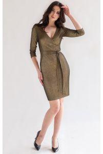 Блестящее коктейльное платье хаки фото
