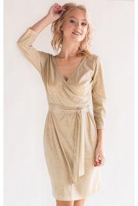 Блестящее коктейльное платье золотое фото