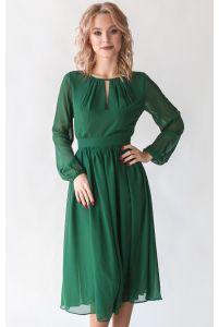 Изумрудное коктейльное платье с рукавом фото