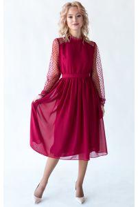 Коктейльное платье миди с рукавом марсала фото