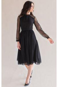 Коктейльное платье миди с рукавом черное фото