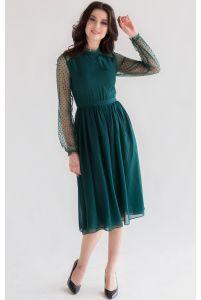 Коктейльное платье миди с рукавом изумрудное фото