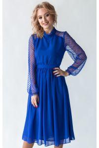 Коктейльное платье миди с рукавом синее фото
