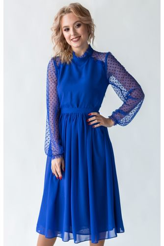 Коктейльное платье миди с рукавом синее в Киеве - Фото 1