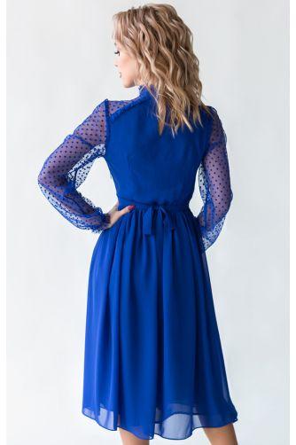 Коктейльное платье миди с рукавом синее в Киеве - Фото 2