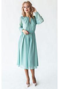 Коктейльное платье с рукавом шалфей фото