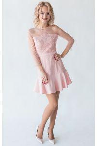 Короткое коктейльное платье пудра фото