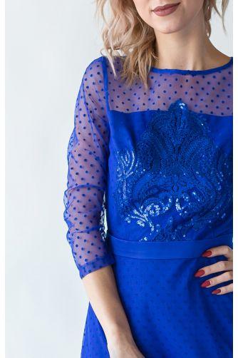 Короткое коктейльное платье синее в Киеве - Фото 2