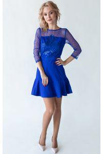 Короткое коктейльное платье синее фото