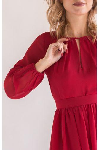 Красное коктейльное платье с рукавом в Киеве - Фото 2