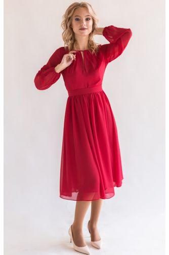 Красное коктейльное платье с рукавом в Киеве - Фото 1