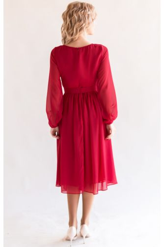 Красное коктейльное платье с рукавом в Киеве - Фото 3