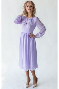 Лавандовое коктейльное платье с рукавом фото