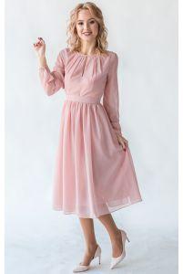 Пудровое коктейльное платье с рукавом фото