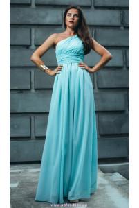 Ментоловое длинное платье на одно плечо фото