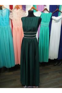 Изумрудное платье с разрезом фото