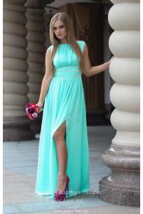 Мятное платье с разрезом фото