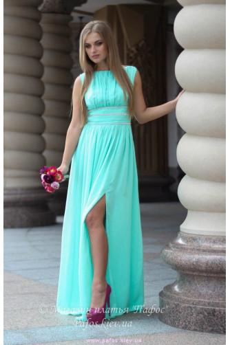 Мятное платье с разрезом в Киеве - Фото 1
