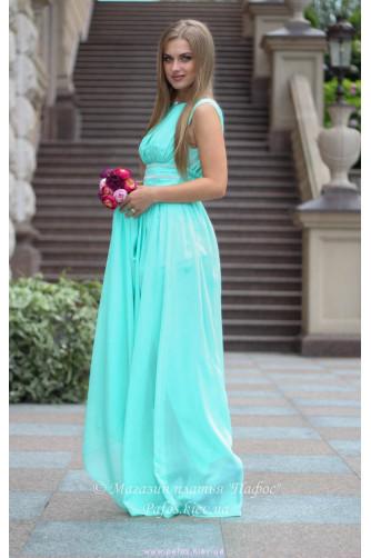 Мятное платье с разрезом в Киеве - Фото 2