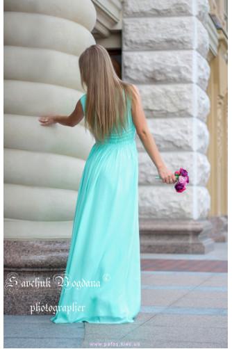 Мятное платье с разрезом в Киеве - Фото 4