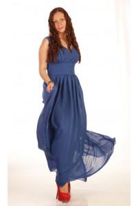 Синее шифоновое платье в пол фото