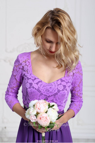 Фиолетовое платье с рукавом в Киеве - Фото 4