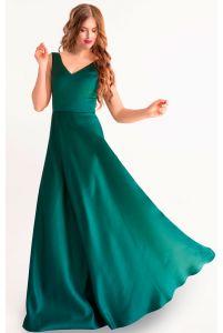 Вечернее атласное платье изумруд фото
