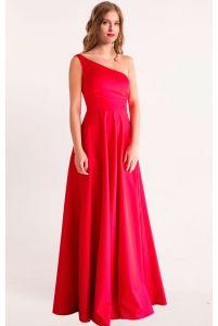 Красное вечернее платье на одно плечо фото