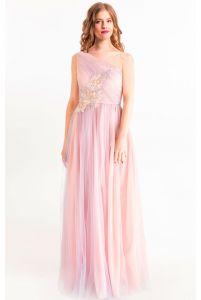 Нежное вечернее платье на одно плечо фото