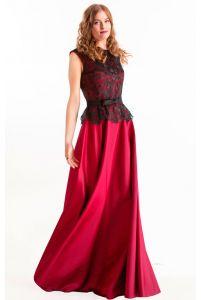 Вечернее атласное платье марсала с кружевом фото