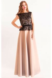 Вечернее атласное платье с кружевом фото