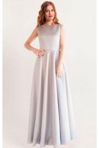 Вечернее атласное платье серое фото