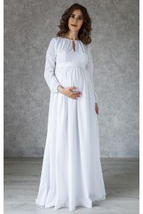 Белое платье в пол для беременных фото