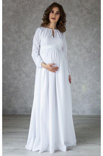 Белое платье в пол для беременных в Киеве - Фото 1