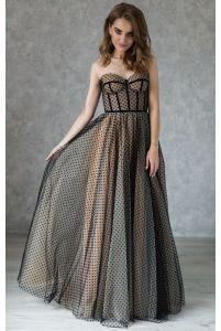Эффектное черное вечернее платье на корсете в горошек фото