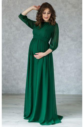 Элегантное платье для беременных изумруд в Киеве - Фото 1