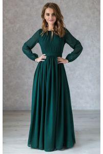 Изумрудное платье в пол с длинным рукавом фото